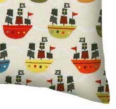 Flannel Pillow Case - Pirate Ships Cream