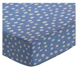 Cradle - Baby Blue Fun Dots - Fitted - 100% Cotton Woven - Fun Dots Cradle Sheets