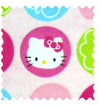 Fabric Shop - Hello Kitty Circles Fabric - Yard - 100% Cotton Flannel - Character Prints Fabric Shop