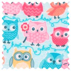 Owls Blue Fabric