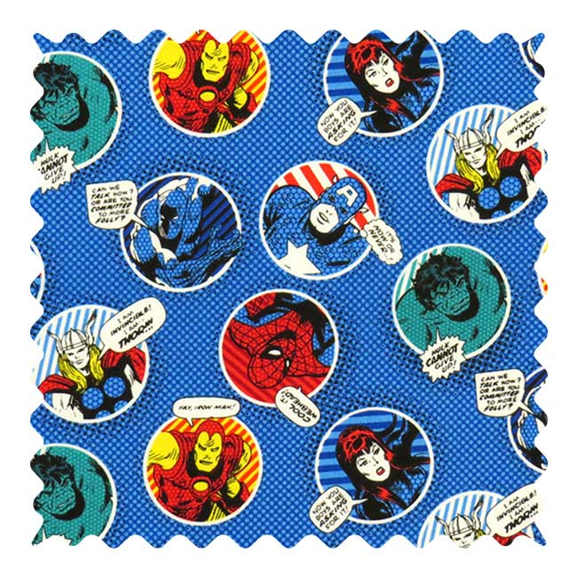 Blue Marvel Fabric - 100% Cotton - 20 x 44 inches