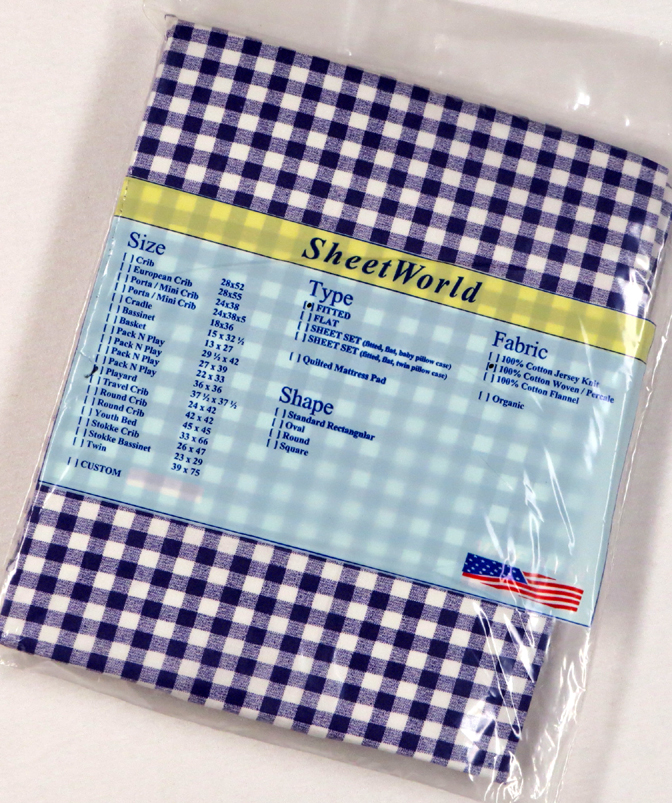Purple Gingham Check Fitted Cotton Playard Sheet - Fits Joovy - 38 x 38
