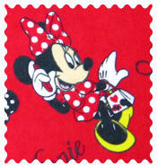 Fabric Shop - Minnie Mouse Polka Dot Fabric - Yard - 100% Cotton Flannel - Character Prints Fabric Shop