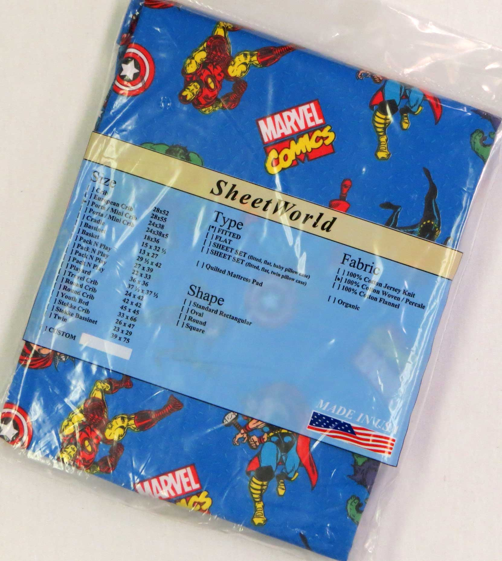 Marvel Comics Cotton Portable / Mini Crib Sheet - 24 x 38