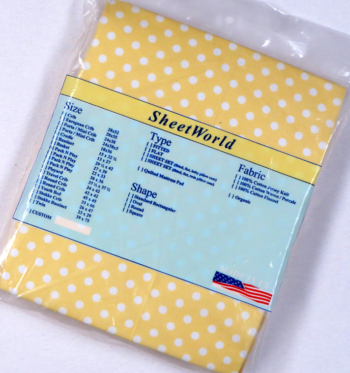 Polka Dots Yellow Fitted Cotton Percale Large Pack N Play Sheet - 29.5 x 42