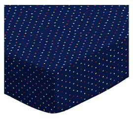 Portable / Mini Crib - Primary Colorful Pindots Navy Woven - Matching Dust Ruffle - 100% Cotton Woven - Primary Polka Dots Portable / Mini Crib Sheets