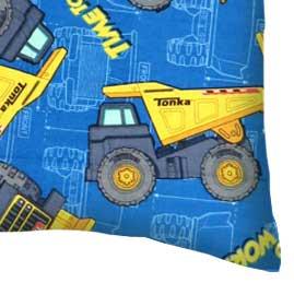 Percale Pillow Case - Constructions Trucks Blue