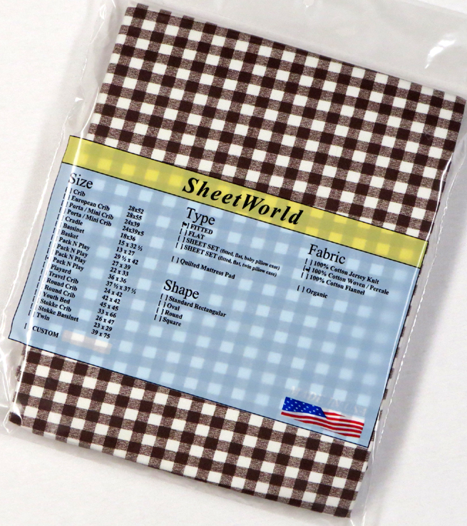 Brown Gingham - Cotton Percale Fitted Square Playard Sheet Fits Graco TotBloc 36 x 36