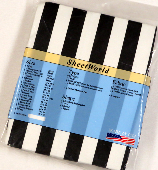 Black Stripe Cotton Fitted Pack N Play Sheet - Fits Graco - 27 x 39