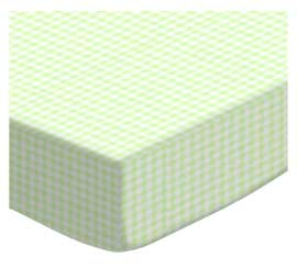 Pack N Play (Graco) - Green Gingham - Fitted - 100% Cotton Percale - Dots and Stripes and Checkered Pack N Play Sheets