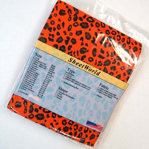 Orange Leopard Pack N Play Sheet - Fits Graco - 27 x 39