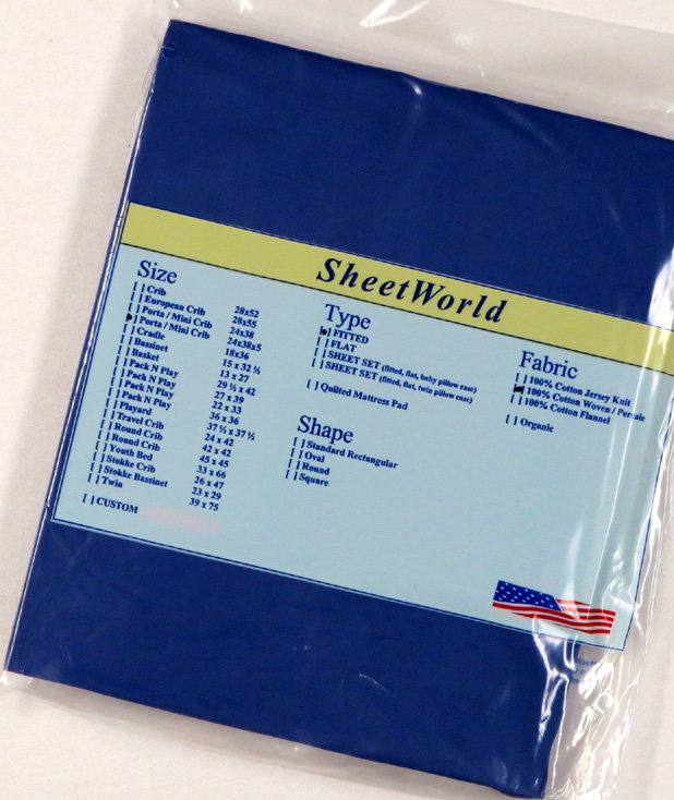 Solid Royal Extra Deep Cotton Portable / Mini Crib Sheet - 24 x 38 x 5.5