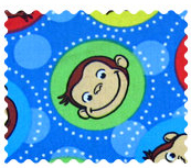 Fabric Shop - Curious George Blue Fabric - Yard - 100% Cotton Percale - Character Prints - Kid Characters Fabric Shop