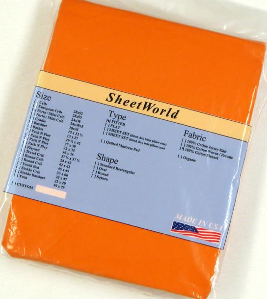 Solid Orange Cotton Flannel Portable / Mini Crib Sheet - 24 x 38