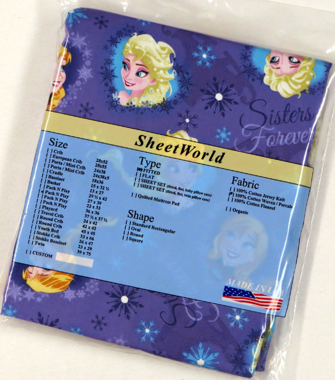 Frozen Sisters - Cotton Fitted Pack N Play Sheet - Fits Graco - 27 x 39