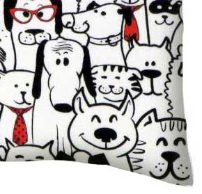 Twin Pillow Case - Cats & Dogs Jersey Knit