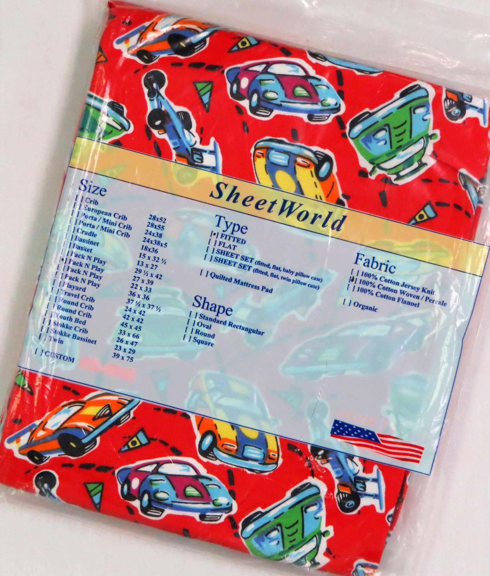 Race Cars Red Cotton Fitted Pack N Play Sheet - Fits Graco - 27 x 39