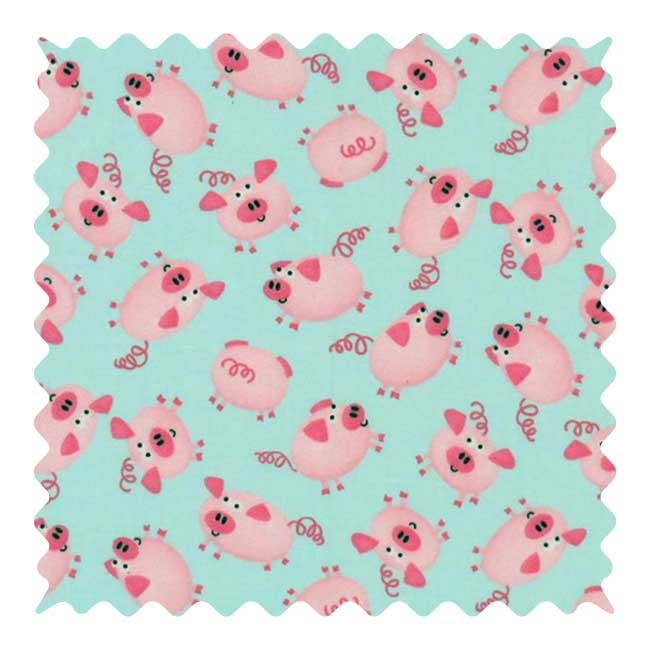 Pink Piggies Fabric - 100% Cotton - 18  x 35 inches