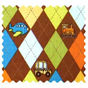 Fabric Shop - Argyle Brown Transport Fabric - Yard - 100% Cotton Percale - Baby Transport Fabric Shop
