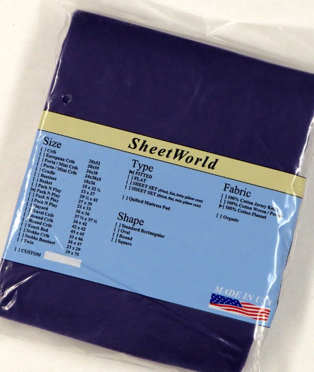 Solid Purple - Cotton Flannel Fitted Pack N Play Sheet - Fits Graco - 27 x 39