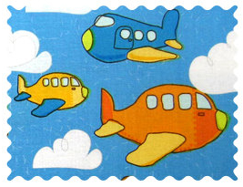 Fabric Shop - Airplanes Blue Fabric - Yard - 100% Cotton Percale - Baby Transport Fabric Shop