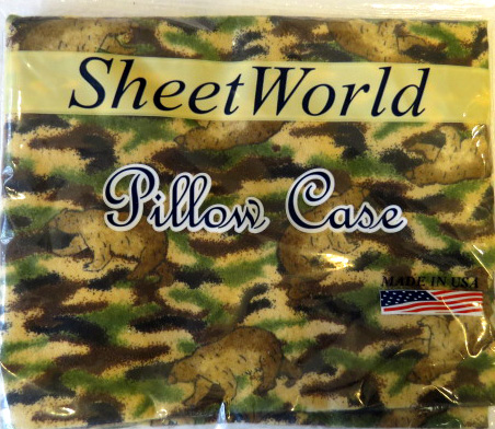 Camo Bear Flannel Baby Pillow Case