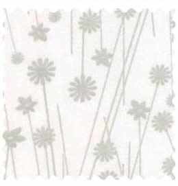 Grey Floral Stems Fabric