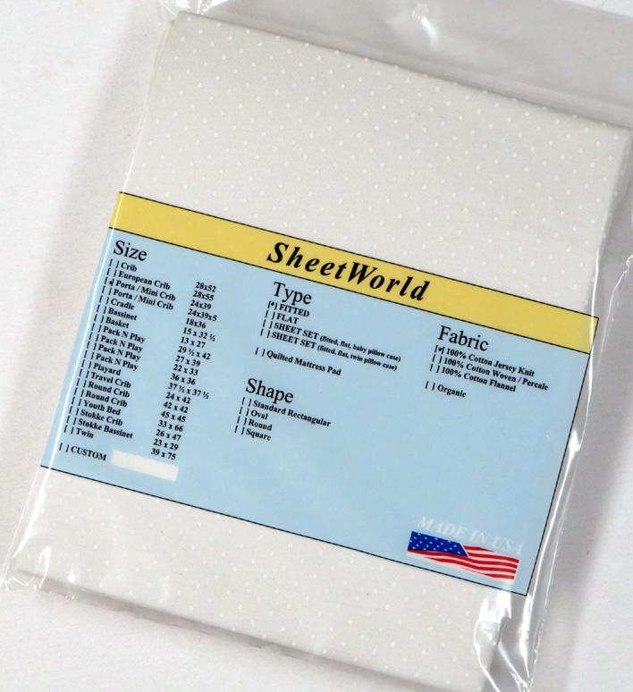 White Swiss Dot Cotton Jersey Knit Portable / Mini Crib Sheet - 24 x 38