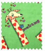 Fabric Shop - Giraffes Green Fabric - Yard - 100% Cotton Flannel - Baby Animal Prints Fabric Shop