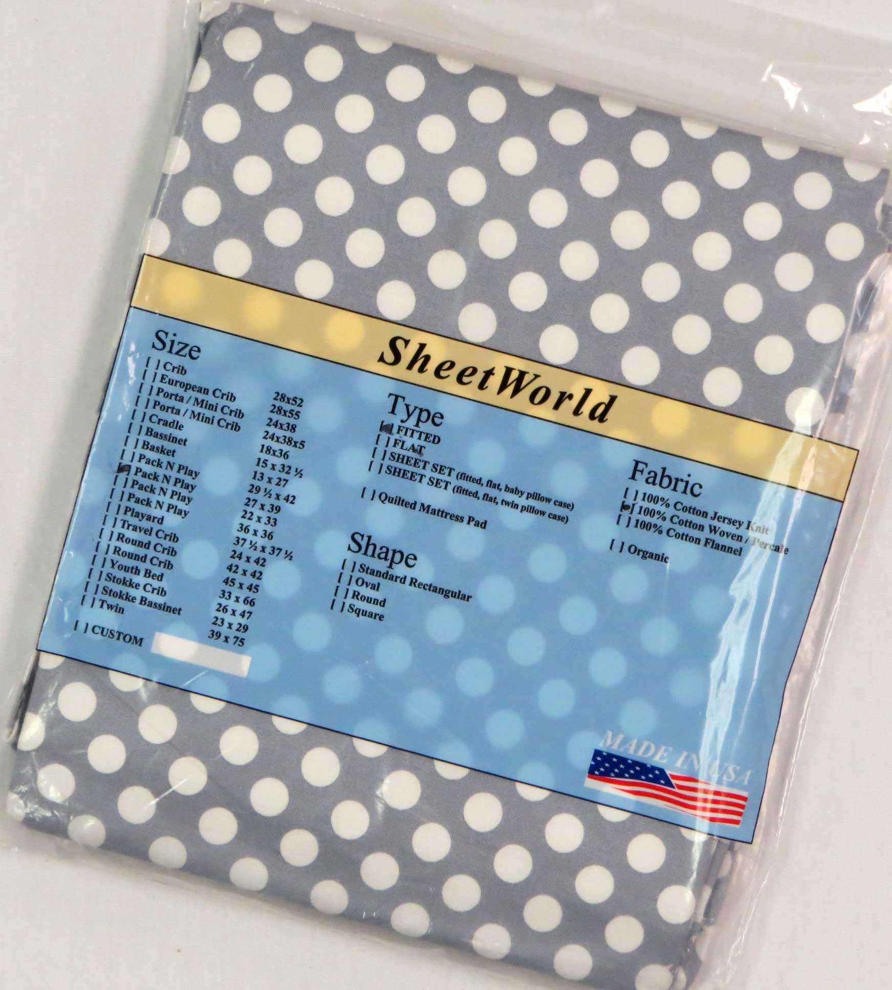 Dots Grey Cotton Fitted Pack N Play Sheet - Fits Graco - 27 x 39