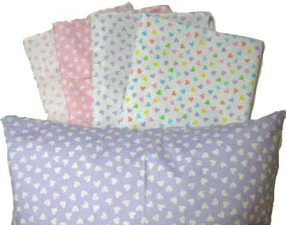 Percale Pillow Cases - Pastel Hearts Collection