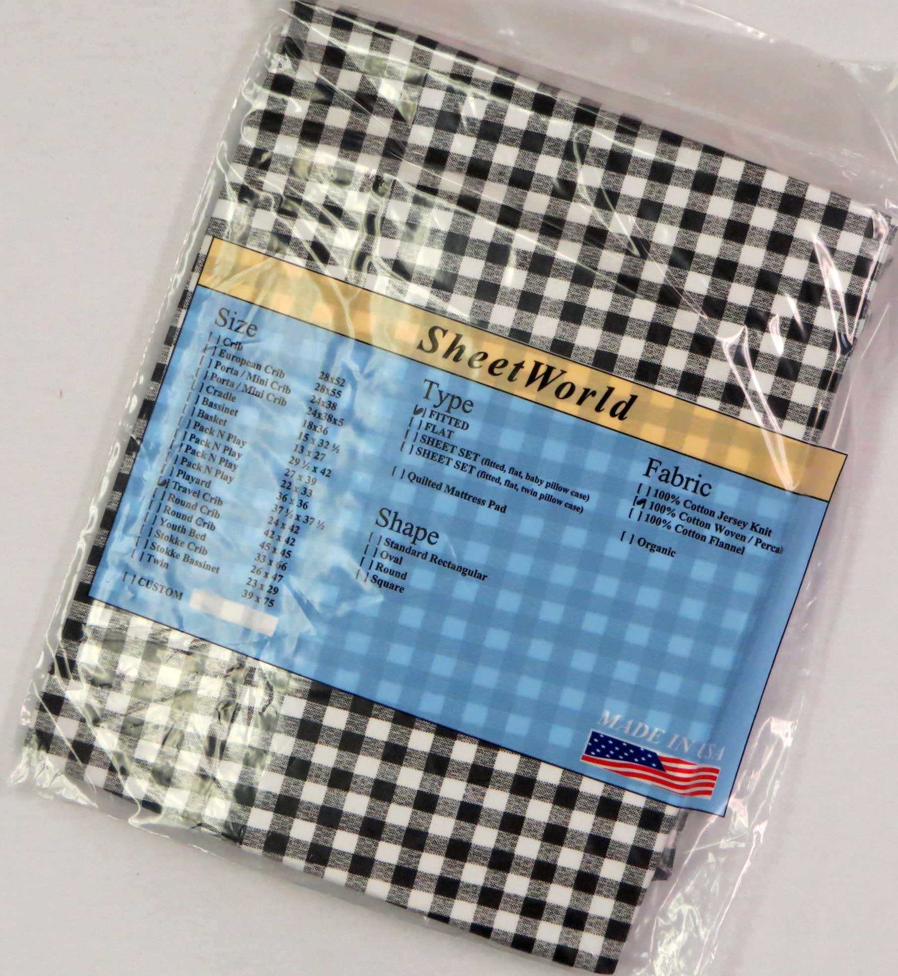 Black White Check Cotton Percale Travel Lite Playard Sheet - Fits BabyBjorn 24 x 42