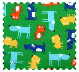 Fabric Shop - Doggy Party Green Fabric - Yard - 100% Cotton Flannel - Baby Animal Prints Fabric Shop