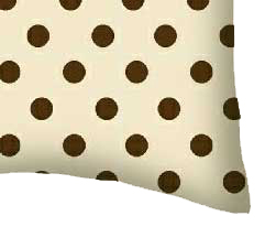 Percale Pillow Case - Brown Polka Dots Cream Woven