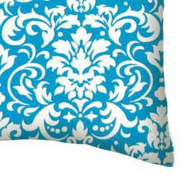 Percale Pillow Case - Turquoise Damask