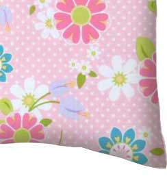 Percale Pillow Case - Pink Daisy Dot