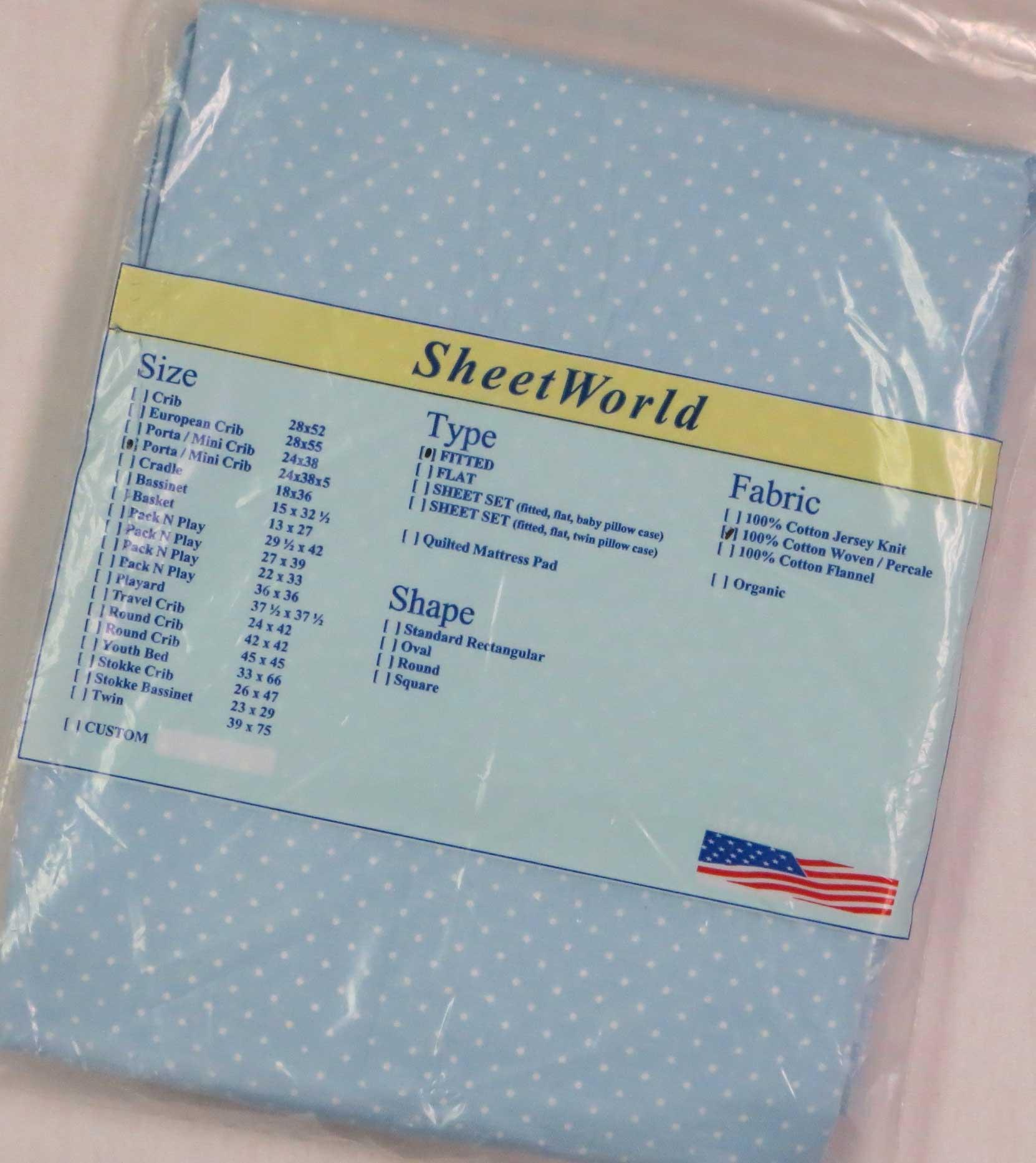 Pindots Blue Cotton Portable / Mini Crib Sheet - 24 x 38 x 5