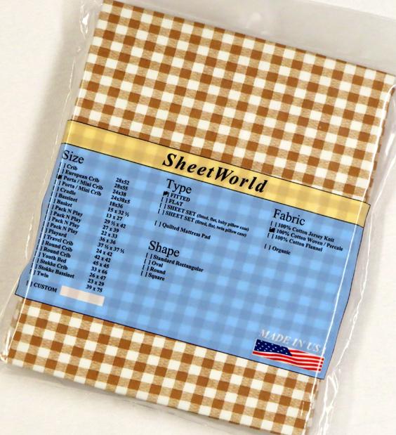 Beige Gingham Cotton Portable / Mini Crib Sheet - 24 x 38