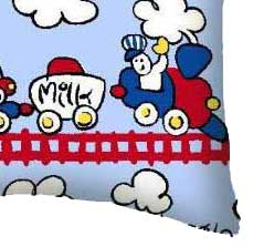 Percale Pillow Case - Fun Train Tracks