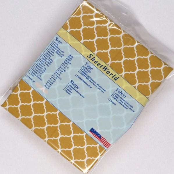 Mustard Quarterfoil Cotton Woven Portable / Mini Crib Sheet - 24 x 38