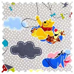 Pooh & Friends Grey Fabric