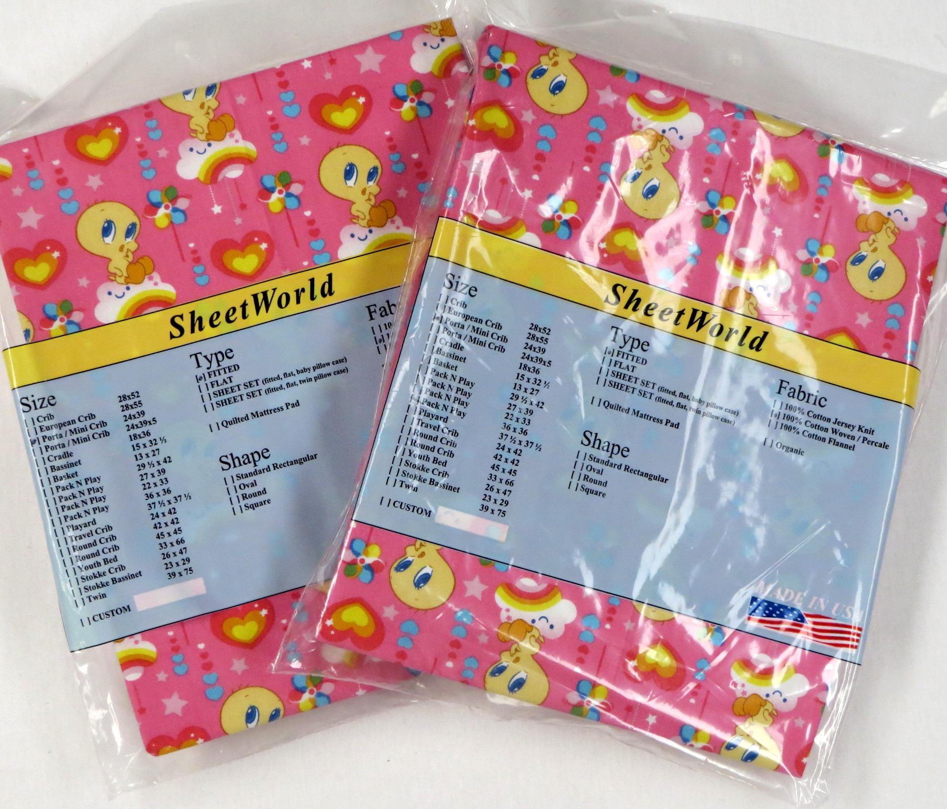 2 Pack Tweety Pink Portable / Mini Crib Sheet