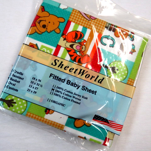 Pooh Patch Cotton Basket Sheet - 13 x 27