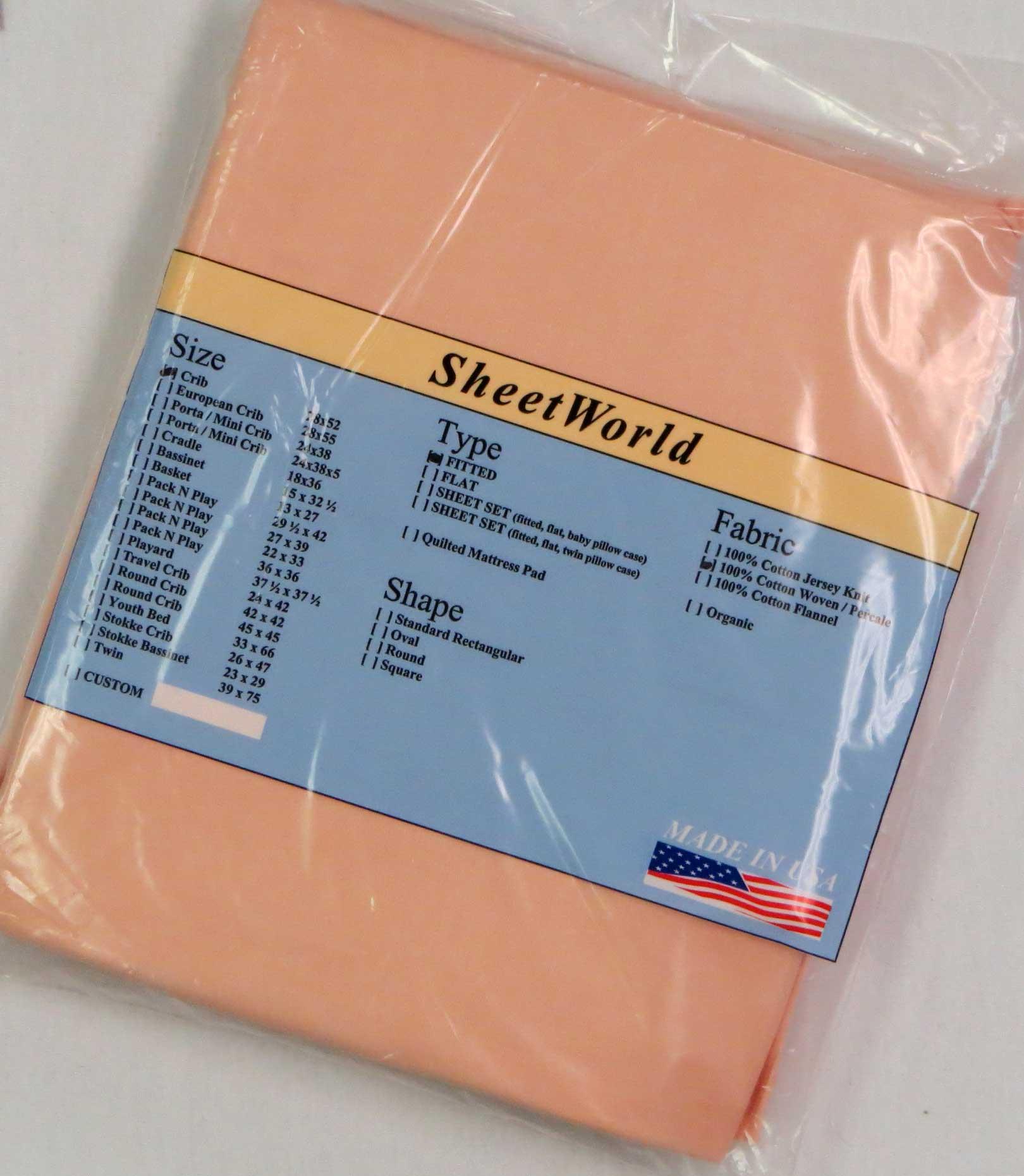 Solid Peach Cotton Crib Sheet - 28 x 52