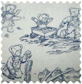 Blue Teddy Toile Portable Mini Crib Sheets Sheetworld