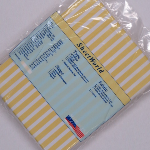 Yellow Stripe Cotton Woven Portable / Mini Crib Sheet - 24 x 38