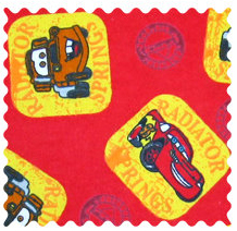 Fabric Shop - CARS Red Fabric - Yard - 100% Cotton Flannel - Character Prints Fabric Shop