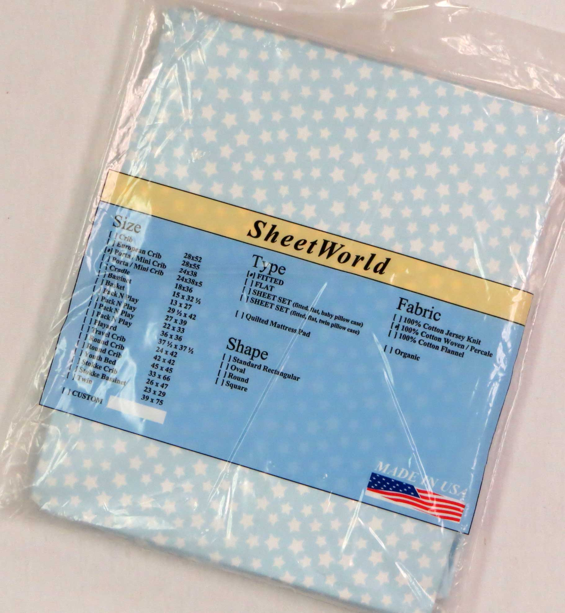 Stars Blue Cotton Portable / Mini Crib Sheet - 24 x 38