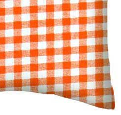 Percale Pillow Case - Orange Gingham Check