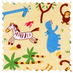 Jungle Animals Yellow Fabric
